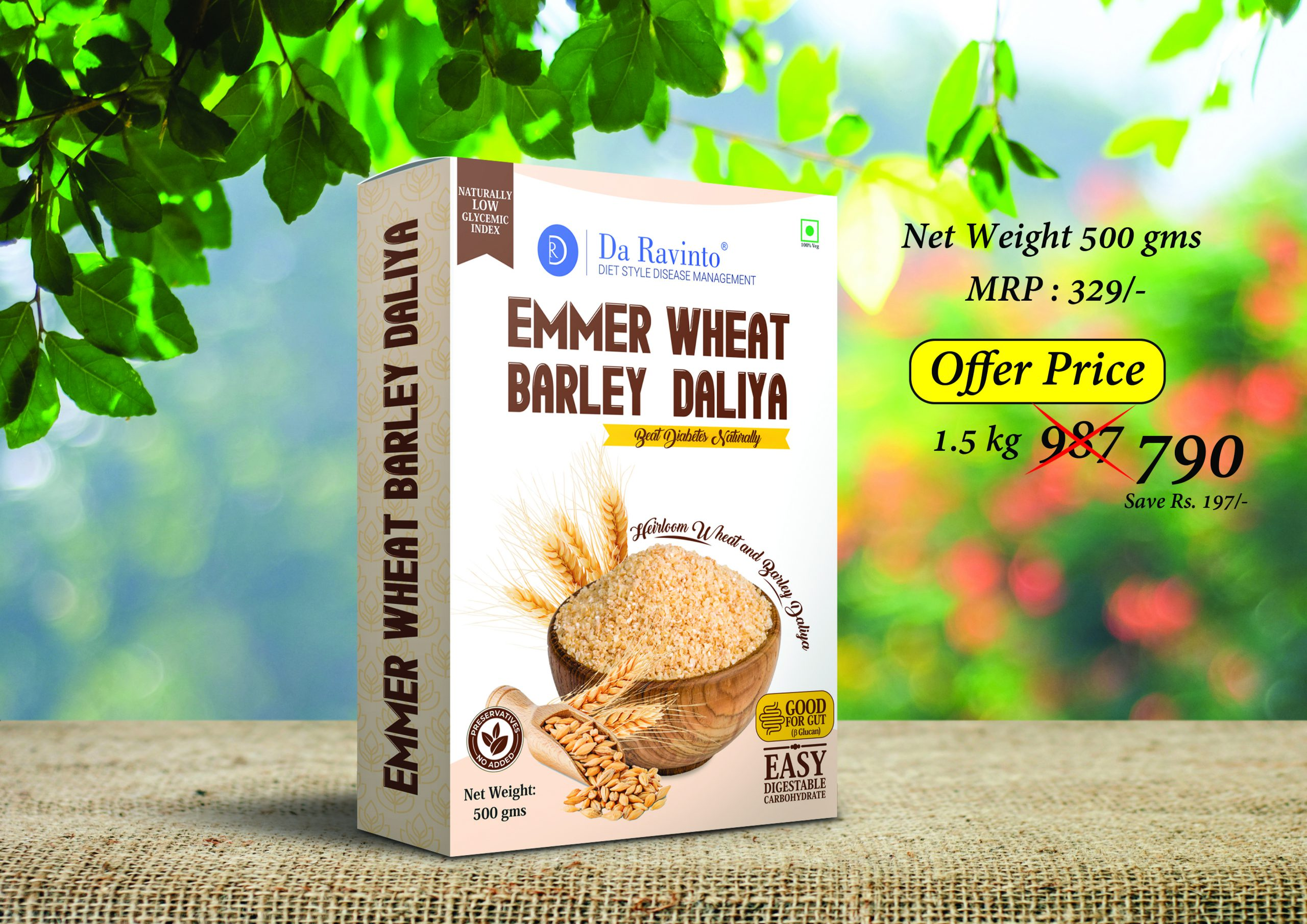 Da Ravitno's Emmer Wheat Barley Daliya
